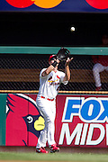 17 April 2010: St. Louis Cardinals right fielder Ryan Ludwick (47) catches a pop fly during Saturday's game against the New York Mets at Busch Stadium in St. Louis, Missouri. The Game would go 20 innings, with the Mets winning 2-1.