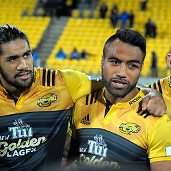 The Hurricanes huddle after the Super Rugby semifinal match between the Hurricanes and Chiefs at Westpac Stadium, Wellington, New Zealand on Saturday, 30 July 2016. Photo: Dave Lintott / lintottphoto.co.nz