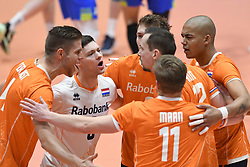02-01-2020 SLO: Slovenia - Netherlands, Maribor<br /> Thijs Ter Horst #4 of Netherlands, Nimir Abdelaziz #14 of Netherlands, Just Dronkers #6 of Netherlands before the friendly volleyball match between National Men teams of Slovenia and Netherlands