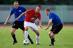 Tuomas Marko Kolsi of Rudar between Aleksanrd Tarassenkov and Sergei Starovoitov of Trans Narva at 1st Round of Europe League football match between NK Rudar Velenje (Slovenia) and Trans Narva (Estonia), on July 9 2009, in Velenje, Slovenia. Rudar won 3:1 and qualified to 2nd Round. (Photo by Vid Ponikvar / Sportida)