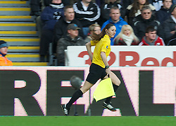 SWANSEA, WALES - Saturday, December 8, 2012: Female assistant referee Sian Massey during the Premiership match between Swansea City and Norwich City at the Liberty Stadium. (Pic by David Rawcliffe/Propaganda)