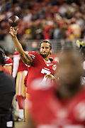 San Francisco 49ers quarterback Colin Kaepernick (7) warms up on the sideline in the fourth quarter against the Los Angeles Rams at Levi's Stadium in Santa Clara, Calif., on September 12, 2016. (Stan Olszewski/Special to S.F. Examiner)