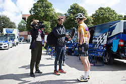 Jolien D'Hoore (BEL) of Wiggle Hi5 Cycling Team talks to the inCycle camera crew before Stage 2 of the Ladies Tour of Norway - a 140.4 km road race, between Sarpsborg and Fredrikstad on August 19, 2017, in Ostfold, Norway. (Photo by Balint Hamvas/Velofocus.com)