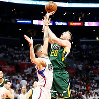 30 April 2017: Utah Jazz forward Gordon Hayward (20) takes a jump shot over LA Clippers guard Austin Rivers (25) during the Utah Jazz 104-91 victory over the Los Angeles Clippers, during game 7 of the first round of the Western Conference playoffs, at the Staples Center, Los Angeles, California, USA.
