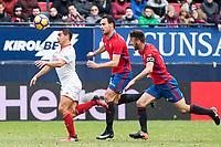 Sevilla's Ben Yedder and Club Atletico Osasuna's Unai Garcia, Oier Sanjurjo during the match of La Liga between Club Atletico Osasuna and Sevilla Futbol Club  at El Sadar Stadium in San Sebastian, Spain. January 22th 2017. (ALTERPHOTOS/Rodrigo Jimenez)