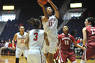"""Mississippi Lady Rebels forward Shequila Joseph (11) vs. Alabama at the C.M. """"Tad"""" Smith Coliseum in Oxford, Miss. on Sunday, January 11, 2015. (AP Photo/Oxford Eagle, Bruce Newman)"""