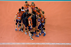 Players of ACH after the match for 3rd place of CEV Indesit Champions League FINAL FOUR tournament between PGE Skra Belchatow, POL and ACH Volley Bled, SLO on May 2, 2010, at Arena Atlas, Lodz, Poland. Belchatow defeated ACH 3-1. (Photo by Vid Ponikvar / Sportida)