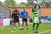Forest Green Rovers assistant manager, Scott Lindsey and Forest Green Rovers manager, Mark Cooper during the EFL Sky Bet League 2 match between Colchester United and Forest Green Rovers at the Weston Homes Community Stadium, Colchester, England on 26 August 2017. Photo by Shane Healey.