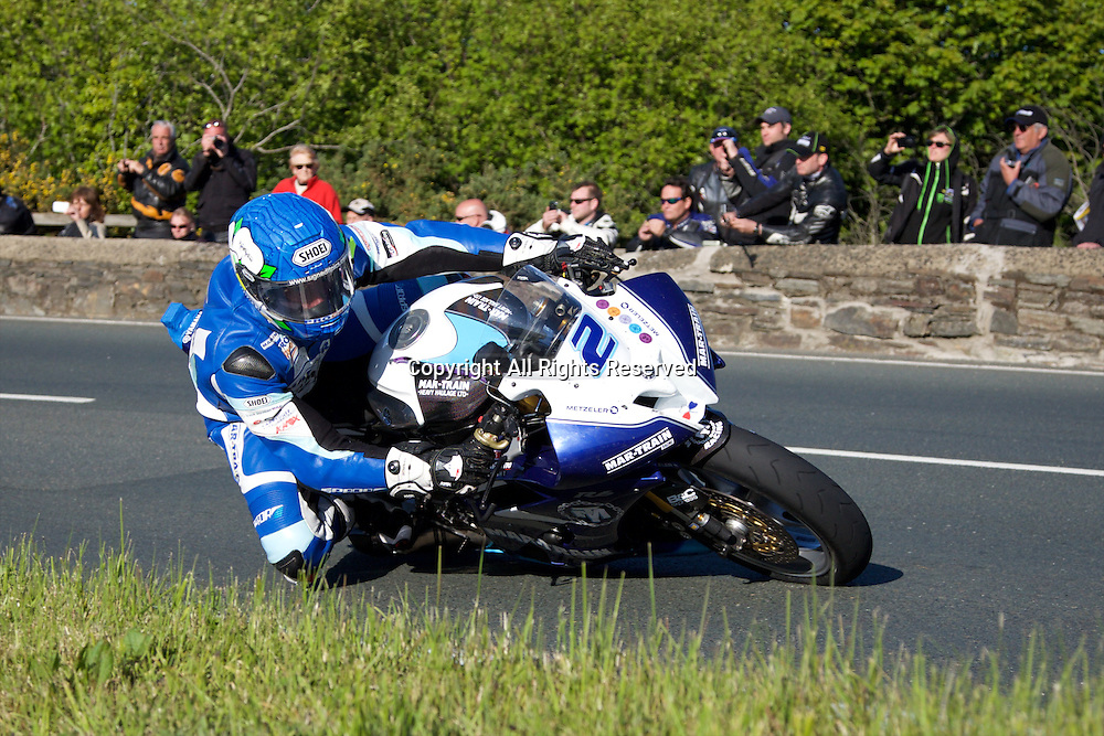 08.06.2015. Douglas, Isle of Man. 2015 Isle of Man TT Races. Dean Harrison in action during the TT Supersport race.