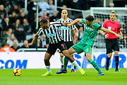 Craig Cathcart (#15) of Watford challenge Jose Salomon Rondon (#9) of Newcastle United during the Premier League match between Newcastle United and Watford at St. James's Park, Newcastle, England on 3 November 2018.