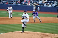 Ole Miss' Bobby Wahl (19) pitches vs. TCU at Oxford-University Stadium in Oxford, Miss. on Friday, February 15, 2013. Ole Miss won the season opener 1-0.