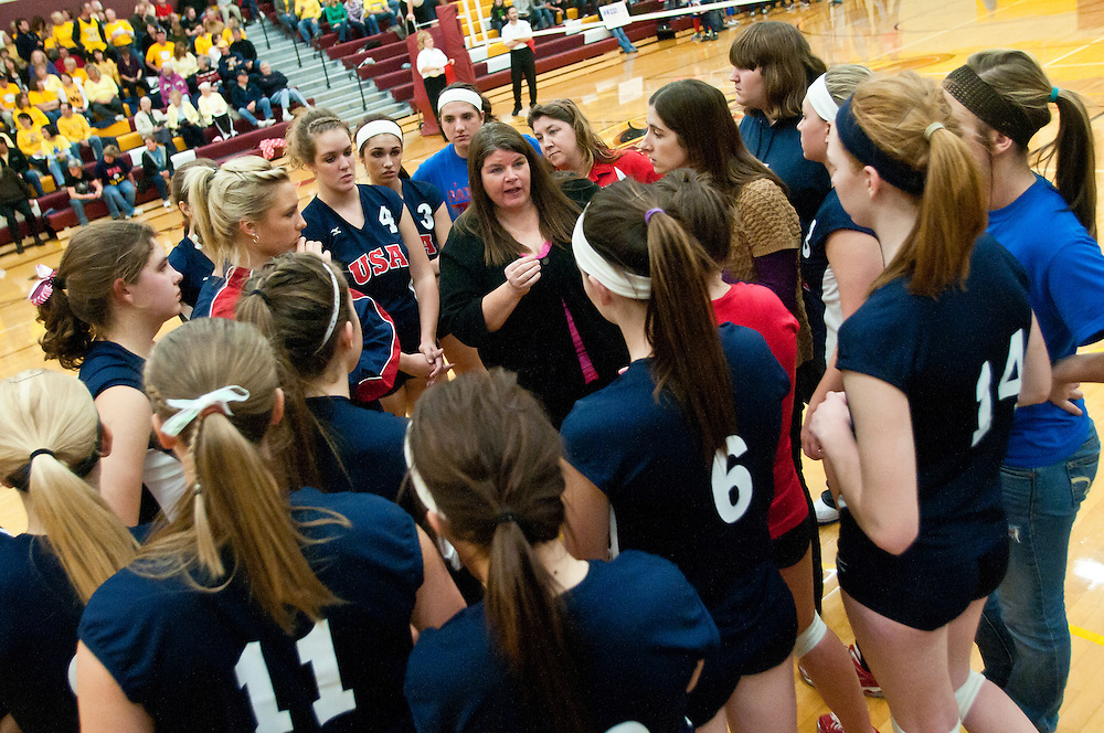 Lathan Goumas | The Bay City Times..November 10, 2011 -Unionville-Sebewaing Area High School head coach Teresa Rose talks to her team during the Class C regional championship volleyball match against Valley Lutheran High School at Reese High School on Thursday. Valley Lutheran defeated Unionville-Sebewaing in three games.