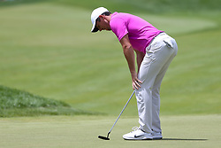 June 22, 2018 - Cromwell, Connecticut, United States - Rory McIlroy reacts after missing a birdie putt on the 9th green during the second round of the Travelers Championship at TPC River Highlands. (Credit Image: © Debby Wong via ZUMA Wire)