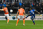 Abu Ogogo (4) of Bristol Rovers shoots at goal during the EFL Sky Bet League 1 match between Bristol Rovers and Blackpool at the Memorial Stadium, Bristol, England on 15 February 2020.