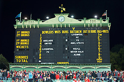 ADELAIDE, AUSTRALIA - Monday, July 20, 2015: The cricket scoreboard at the Adelaide Oval is repurposed as a football scoreboard for a preseason friendly match between Adelaide United and Liverpool on day eight of the club's preseason tour. (Pic by David Rawcliffe/Propaganda)