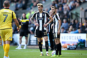 Notts County defender Daniel Jones (23) and Notts County midfielder Jorge Grant (10), on loan from Nottingham Forest, stand over a free kick during the EFL Sky Bet League 2 match between Notts County and Morecambe at Meadow Lane, Nottingham, England on 9 September 2017. Photo by Simon Davies.