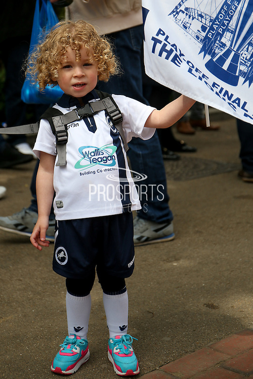 Young Millwall FC fan during the Sky Bet League 1 play off final match between Barnsley and Millwall at Wembley Stadium, London, England on 29 May 2016. Photo by Simon Davies.