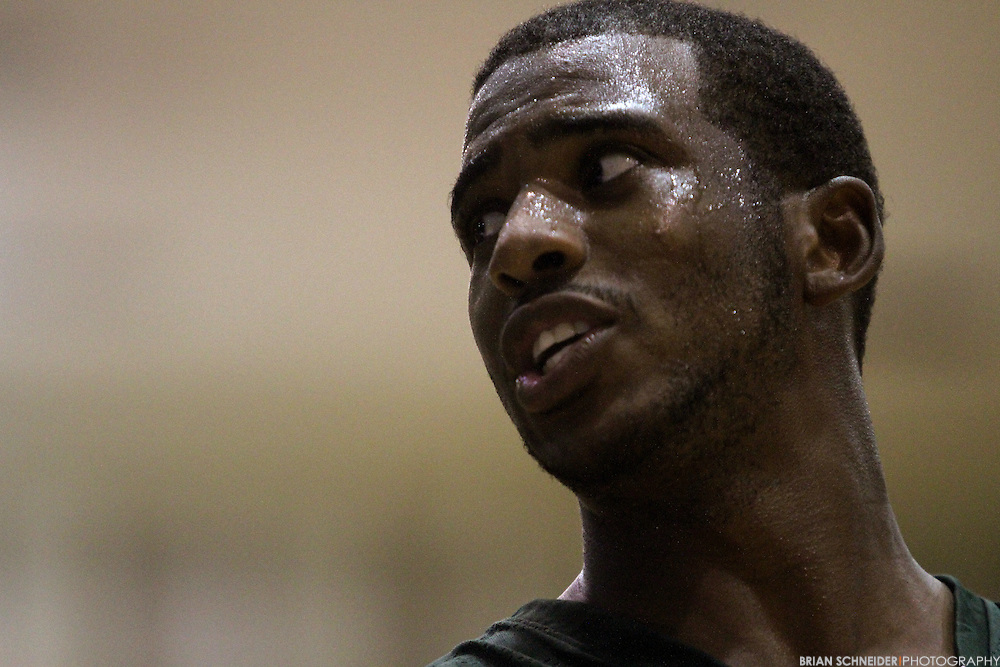 August 30, 2011; Baltimore, MD, USA; Chris Paul during the Goodman League All-Stars taking on The Melo League basketball game at Edward P. Hurt Gymnasium at Morgan State University on August 30, 2011 in Baltimore, Maryland. Brian Schneider-www.ebrianschneider.com