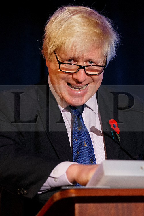 © Licensed to London News Pictures. 28/10/2014. LONDON, UK. Mayor of London, Boris Johnson delivering a speech on Crossrail 2 during City Age conference at The Lansdowne Club in central London on Tuesday, 28 October 2014. Photo credit : Tolga Akmen/LNP