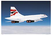 Concorde in flight with afterburner