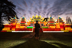 © Licensed to London News Pictures. 18/01/2017. London, UK. A Chinese temple at the Chiswick House Magic Lantern Festival. The Festival is a fusion of art, heritage and culture. Illuminating outdoor installations of beautifully sculpted lanterns taking various forms. Opening tomorrow and running until February 26th 2017 the theme for this year's festival is: 'Explore The Silk Road'. Visitors will discover life-sized and oversized lantern scenes, which represent and highlight this significant route of trade and culture from Europe to Ancient China.Photo credit: Peter Macdiarmid/LNP
