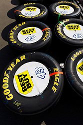 June 26, 2011; Sonoma, CA, USA;  Goodyear race tires for the car of NASCAR Sprint Cup Series driver A.J. Allmendinger (not pictured) sit in the pit area before the Toyota/Save Mart 350 at Infineon Raceway.