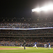 Daniel Murphy, New York Mets, rounds third base after hitting a home run during the MLB NLCS Playoffs game two, Chicago Cubs vs New York Mets at Citi Field, Queens, New York. USA. 18th October 2015. Photo Tim Clayton