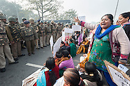 23rd Dec. 2012. Protesters stage a sit-down demonstration in central New Delhi. Large crowds of activists took to the streets of the Indian capital after hearing news of the gang-rape of a young medical student.