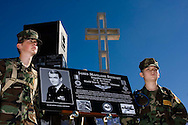 Two members of the Eagle Young Marines from Camp Pendleton stand watch over a memorial plaque during a special ceremony for the late actor Jimmy Stewart on Mt. Soledad in La Jolla, California on November 08, 2008.