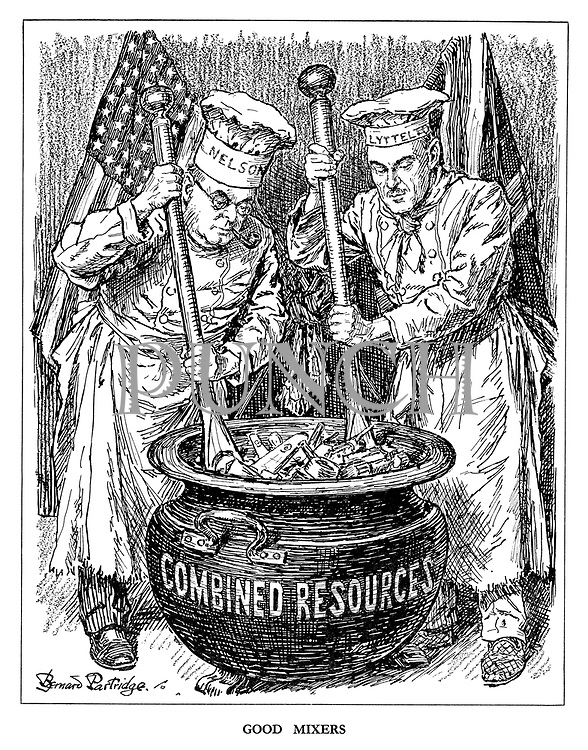 Good Mixers. (America's Donald Nelson and Britain's Oliver Lyttleton as chefs mixing the pot of Combined Resources containing tanks, planes and guns)