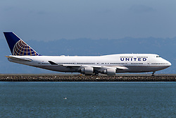 United Airlines Boeing 747-422 (N128UA) on the tarmac at San Francisco International Airport (SFO), Millbrae, California, United States of America