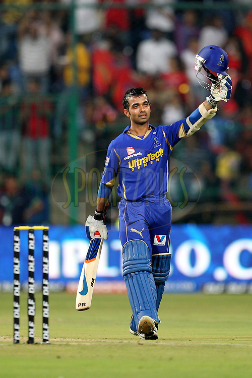 Ajinkya Rahane celebrates century during match 18 of the the Indian Premier League ( IPL) 2012  between The Royal Challengers Bangalore and the Rajasthan Royals held at the M. Chinnaswamy Stadium, Bengaluru on the 15th April 2012..Photo by Prashant Bhoot/IPL/SPORTZPICS