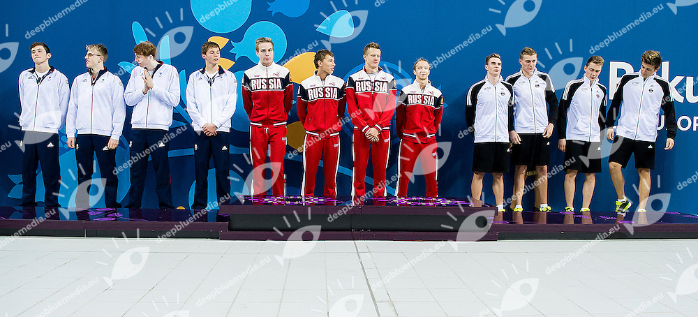 Podium <br /> 4X200 Relay Freestyle Men Final Swimming<br /> 1st European Olympic Games <br /> Baku Azerbaijan 12-28/08/2015<br /> Photo Andrea Masini/Deepbluemedia/Insidefoto