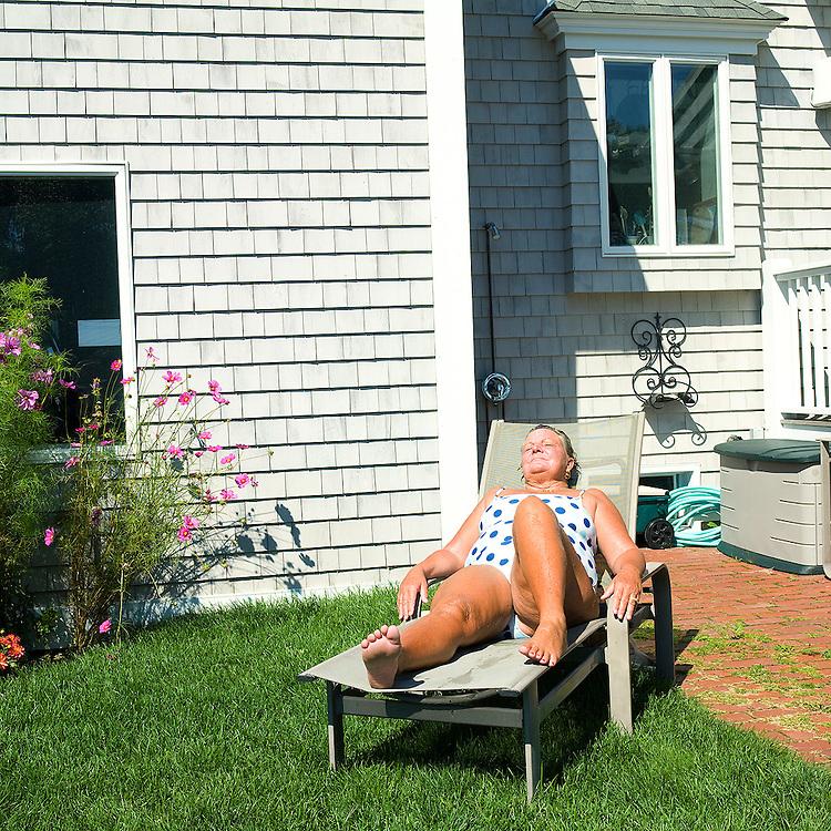 Mom Sunning on The Lawn, Biddeford Pool, Maine, 2007