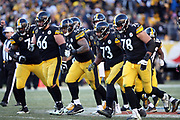 The Pittsburgh Steelers offense breaks from the huddle and heads to the line during the NFL 2018 AFC Divisional playoff football game against the Jacksonville Jaguars, Sunday, Jan. 14, 2018 in Pittsburgh. The Jaguars won the game 45-42. (©Paul Anthony Spinelli)