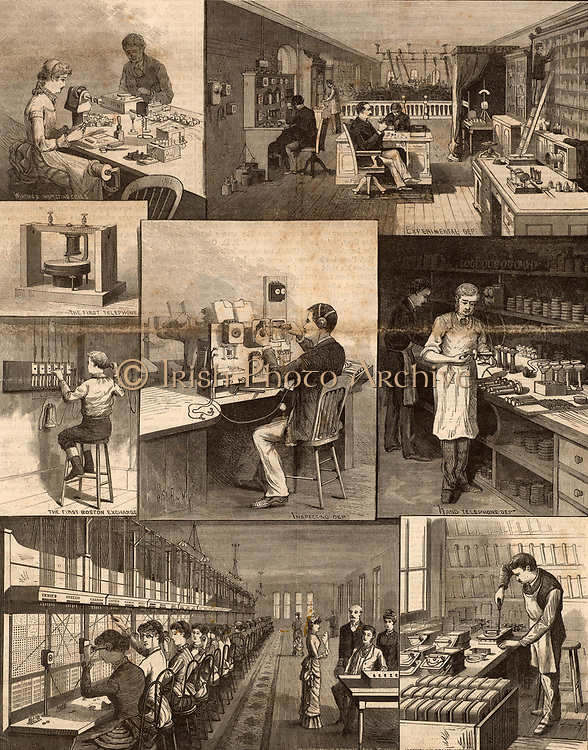 Bell Telephone Company, America.  Top left: Winding and inspecting coils. Top right: Experimental deparment. Centre right: First Bell telephone and First Boston telephone exchange with 5 lines (1877). Centre: Inspecting department. Centre right: Hand telephone department. Bottom left: Boston telephone exchange, 1884.   Bottom right: Assembling transmitters. Engraving from 'Scientific American'  (New York, 20 September 1884).