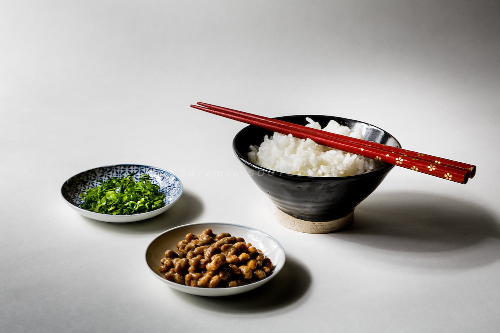 Tokyo, January 2015 - Natto, rice and sliced onions.