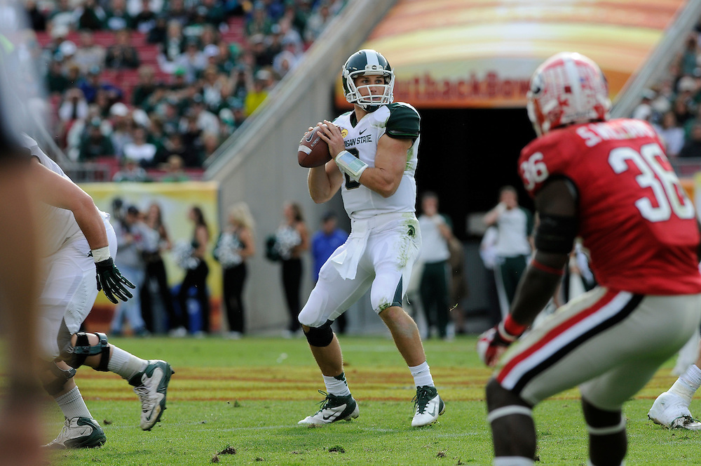 January 2, 2012: Kirk Cousins of Michigan State in action during the NCAA football game between the Michigan State Spartans and the Georgia Bulldogs at the 2012 Outback Bowl at Raymond James Stadium in Tampa, Florida. The Spartans defeated the Bulldogs 33-30.