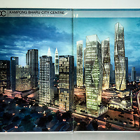 An artist's impression of the 'Kampung Baru City Center' plan with twelve iconic buildings and four signature towers at night launched in October 2015 is seen at Kampung Baru Development Corporation (Perbadanan Kampung Baru) office in Kampung Baru, Kuala Lumpur, Malaysia, 12 April 2017. Kampung Baru Development Corporation was established by the Malaysian government and started operations in 2011. Its function as a planner and regulator of the development of Kampung Baru in Kuala Lumpur.