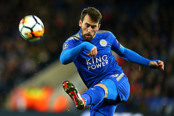 Christian Fuchs of Leicester City clears the ball - Mandatory by-line: Robbie Stephenson/JMP - 16/01/2018 - FOOTBALL - King Power Stadium - Leicester, England - Leicester City v Fleetwood Town - Emirates FA Cup third round proper