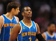 Jan. 30, 2011; Phoenix, AZ, USA; New Orleans Hornets guard Chris Paul (3) reacts on the court against the Phoenix Suns at the US Airways Center. The Suns defeated the Hornets 104-102.  Mandatory Credit: Jennifer Stewart-US PRESSWIRE