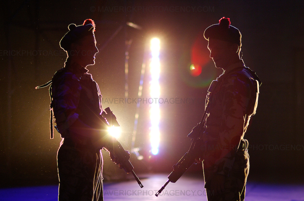 """National Theatre of Scotland play """" Blackwatch """" at the Edinburgh University Drill Hall.  The play is part of this years Edinburgh Festival Fringe.  Pictured right Brian Ferguson as Cammy and left Emun Elliott as Fraz."""