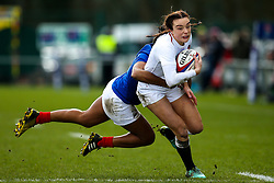 Kelly Smith of England Women is tackled - Mandatory by-line: Robbie Stephenson/JMP - 10/02/2019 - RUGBY - Castle Park - Doncaster, England - England Women v France Women - Women's Six Nations