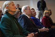 (L - R) Lee Rowan, Henry Rowan and Virginia Rowan Smith - Henry Rowan Statue Unvailing at Rowan University in Glassboro, NJ on Thursday December 13, 2012. (photo / Mat Boyle)