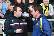 Walsall manager Dean Keates and Burton Albion manager Nigel Clough during the EFL Sky Bet League 1 match between Burton Albion and Walsall at the Pirelli Stadium, Burton upon Trent, England on 2 March 2019.