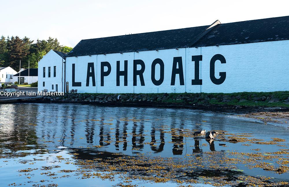 View of Laphroaig Distillery on island of Islay in Inner Hebrides of Scotland, UK