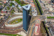 Nederland, Zuid-Holland, Den Haag, 09-05-2013; Rijswijkseplein met torenflat het Strijkijzer (architect Paul Bontenbal), <br /> <br /> luchtfoto (toeslag op standard tarieven)<br /> aerial photo (additional fee required)<br /> copyright foto/photo Siebe Swart