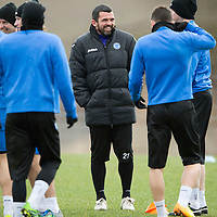 St Johnstone Training....21.03.14<br /> Asst Manager Callum Davidson taking training today in the absence of Tommy Wright<br /> Picture by Graeme Hart.<br /> Copyright Perthshire Picture Agency<br /> Tel: 01738 623350  Mobile: 07990 594431