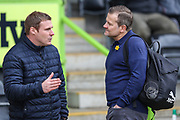 Mansfield Town manager David Flitcroft and Forest Green Rovers manager, Mark Cooper during the EFL Sky Bet League 2 match between Forest Green Rovers and Mansfield Town at the New Lawn, Forest Green, United Kingdom on 24 March 2018. Picture by Shane Healey.