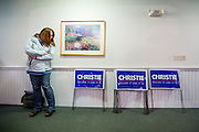 Yard signs for Chris Christie ready to be handed out at a campaign event at the White Rock Senior Living Community in Bow, NH. . The Republican Presidential candidate Chris Christie (NJ) held a town hall meeting  there ahead of the primary election.